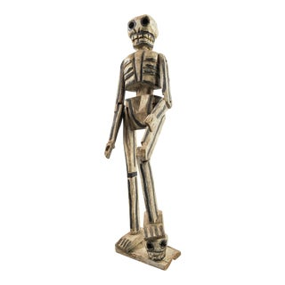 Folk Art Carved Wood Skeleton