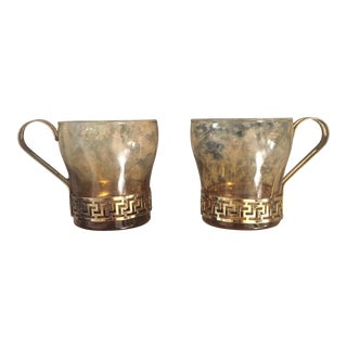 Amber Glass Gold Greek Key Coffee Cups - A Pair