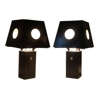 Bronze and Steel Spree Table Lamps - A Pair
