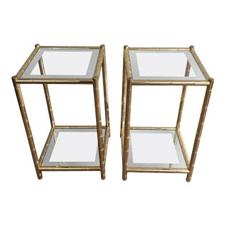 1940s French Pair of Gilt Framed End Tables With Glass Shelves