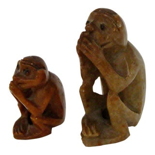 Carved Stone Monkeys - A Pair