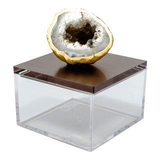 Metallic Gun Metal Gem Box With Oco Geode