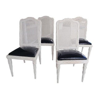 Mid-Century Black & White Dining Chairs - S/4