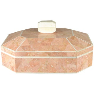 Octagonal Tessellated Marble Lidded Box