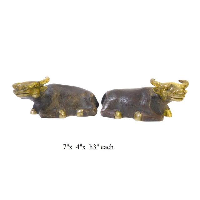 brown bronze metal ox cow buffalo figures a pair chairish. Black Bedroom Furniture Sets. Home Design Ideas