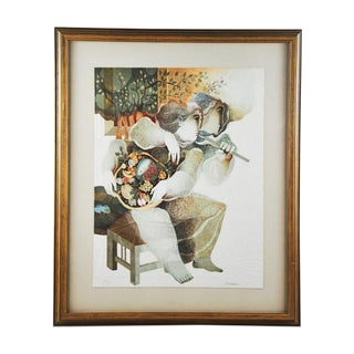 """Original Sunol Alvar Embossed Lithograph """"I'Eau - Two People Seated"""""""