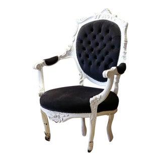Victorian Black Velvet Armchair