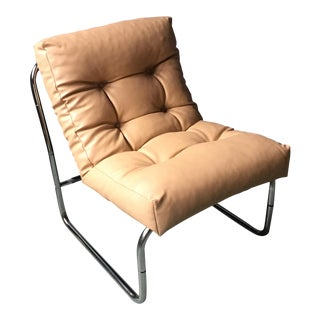 Modern Tan Faux Leather & Chrome Chair