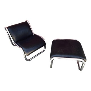 Vintage Black Leather Sling Chair & Ottoman