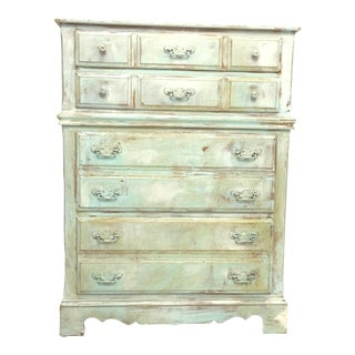 Turquoise Hand Painted Four Drawer Dresser