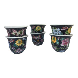 Vintage Famille Noir Chinese Porcelain Sake Cups - Set of 6
