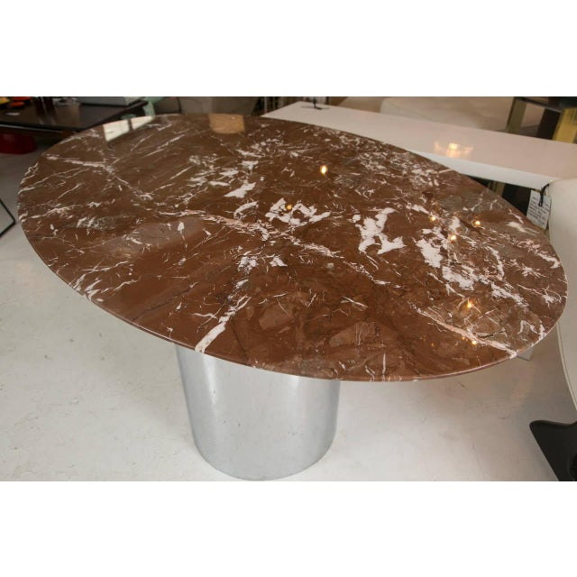 Mid-Century Red Marble Table in Brueton Style - Image 3 of 7