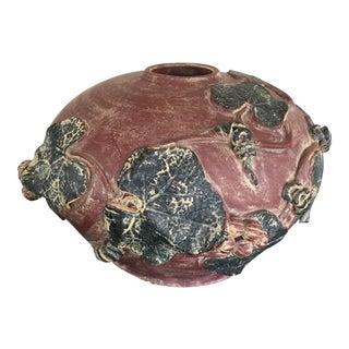 Rustic Terra Cotta Grape Detail Clay Vase