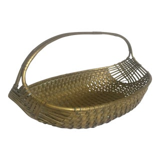Vintage Mid Century Italian Brass Hand Woven Oval Metal Basket