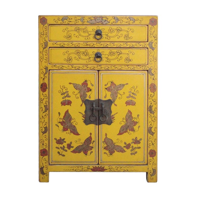 Image of Chinese Yellow Base Golden Graphic End Table