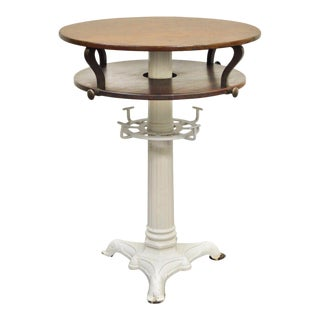 Round Wood & Cast Iron Pedestal Base Industrial Center Island Table