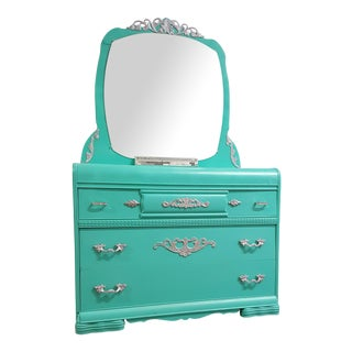 Vintage Art Deco Aqua Vanity With Mirror