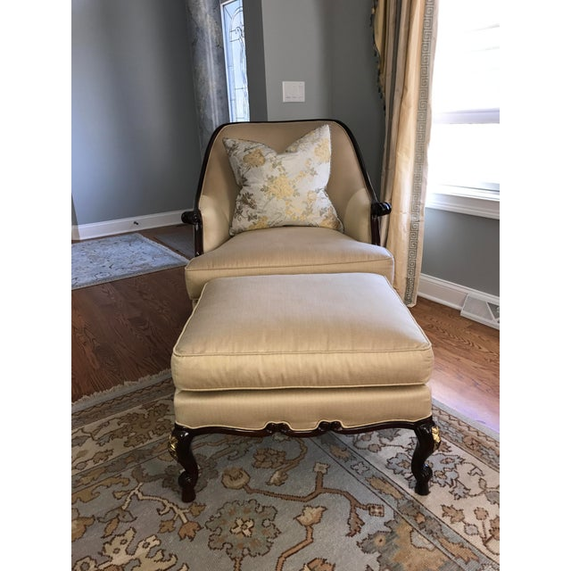Century Furniture Chair & Ottoman With Floral Pillow - a Pair - Image 9 of 10