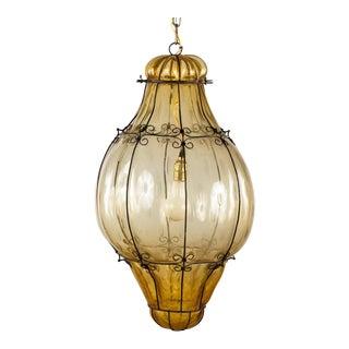 Murano Amber Glass Caged Lantern, Italy 1940s