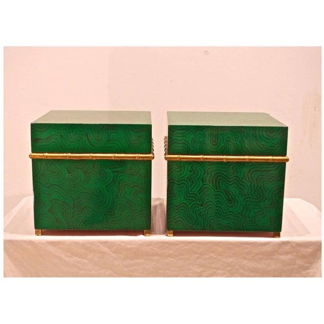 Faux Malachite Boxes - a Pair - Image 5 of 8