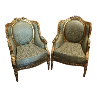 Neoclassical Gold Gilded Upholstered Chairs - a Pair