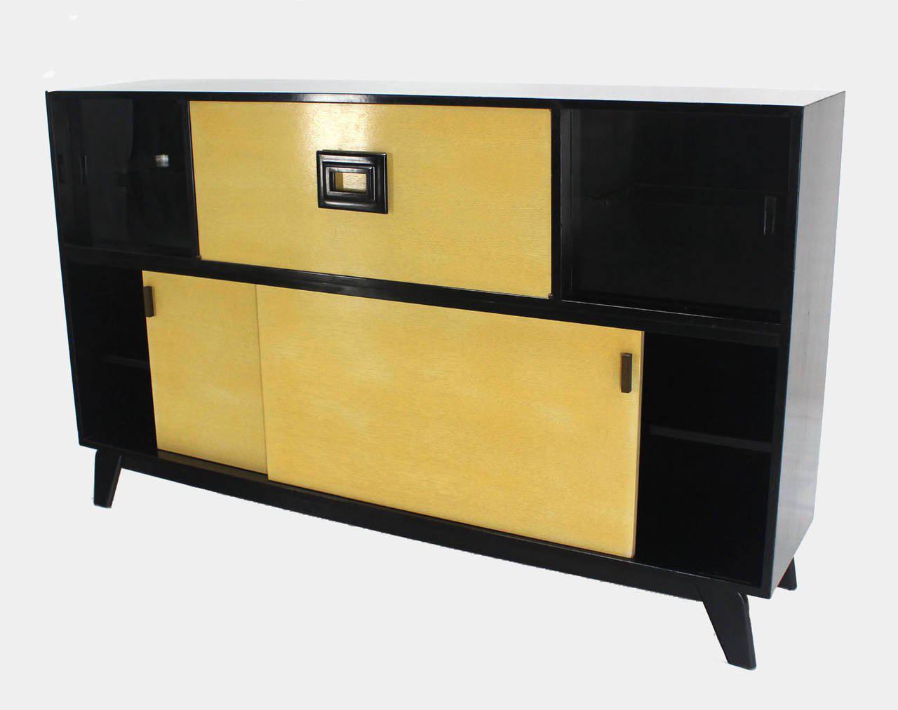 midcentury modern credenza black lacquer gredenza bar liquor cabinet image 5 of 8