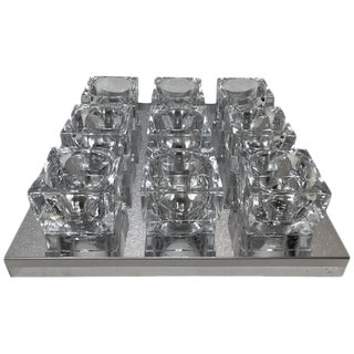 Gaetano Sciolari 9 Light Glass & Chrome Cube Flush Mount