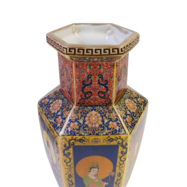 Image of Hexagonal Porcelain Buddha Vase