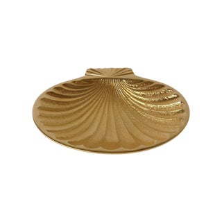 Gold Plated Fanned Shell-Shape Ring Dish