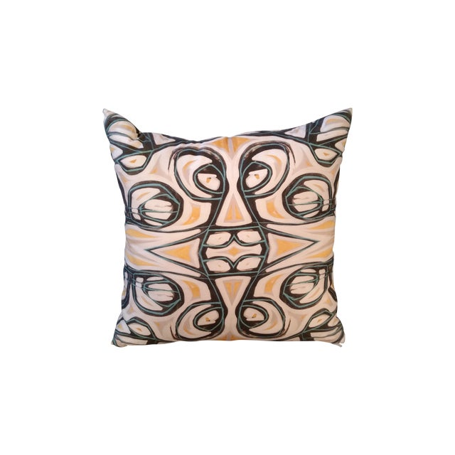 Yellow Abstract Pillow by Amanda Talley - Image 1 of 4