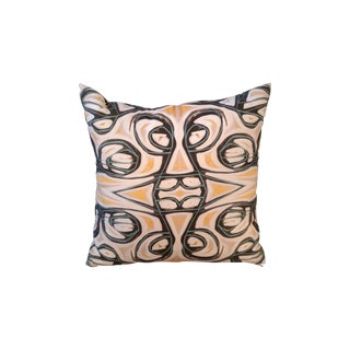 Yellow Abstract Pillow by Amanda Talley