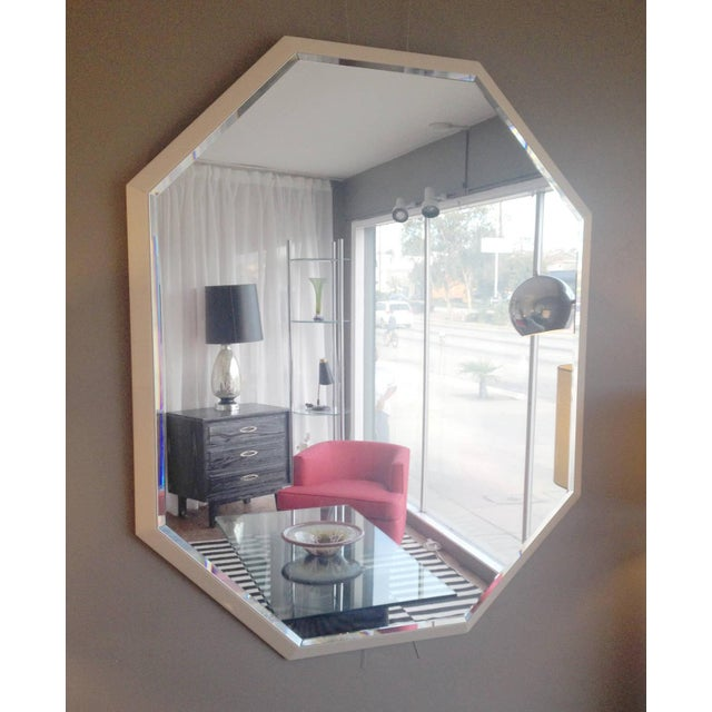 Image of White Lacquered Octagonal Mirror