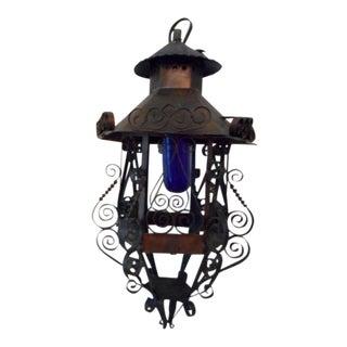 Scrolling Italian Tole Lantern Swag Lamp