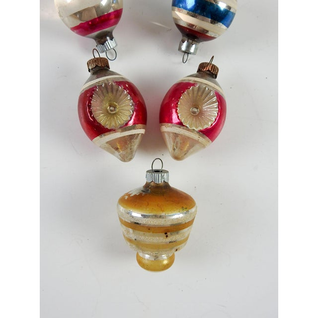 Group of Vintage Striped Christmas Ornaments - Set of 5 - Image 4 of 4
