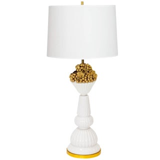 Italian Porcelain Lamp with Gilded Grapes
