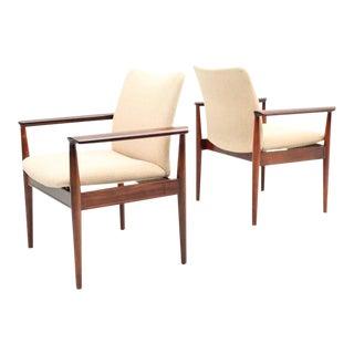 Set of Four Cream Rosewood Finn Juhl Diplomat Chairs, 1959 - Danish, Mid Century