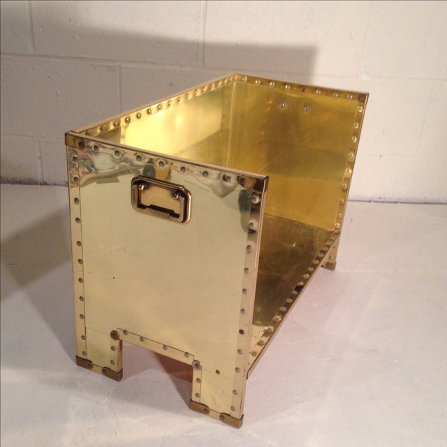Image of Brass Clad Wood Caddy in the Manner of Sarreid