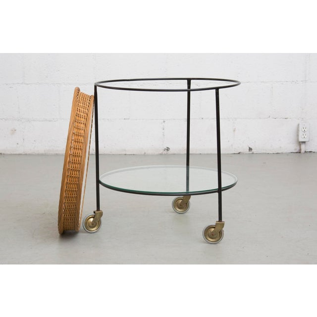 Teak and Woven Rattan Rolling Cart - Image 7 of 7