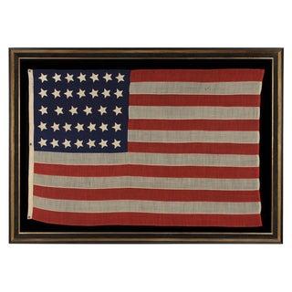 34 STARS, MADE BY WILLIAM G. MINTZER, PHILADELPHIA, CIVIL WAR PERIOD, 1861-63, KANSAS STATEHOOD