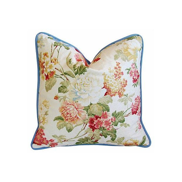 Designer English Jacquard Floral Pillows - Pair - Image 2 of 7