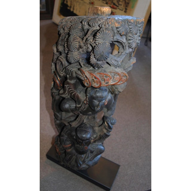 Antique Chinese Carved Wood Guardian Sculpture - Image 9 of 11