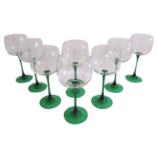 Emerald Green Crystal Wine Glasses - Set of 8