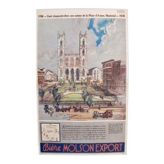 Original 1938 Montreal Molson Beer Souvenir Poster, Place D'Armes