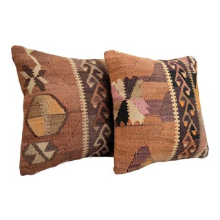 Vintage Turkish Kilim Rug Pillow Covers - A Pair