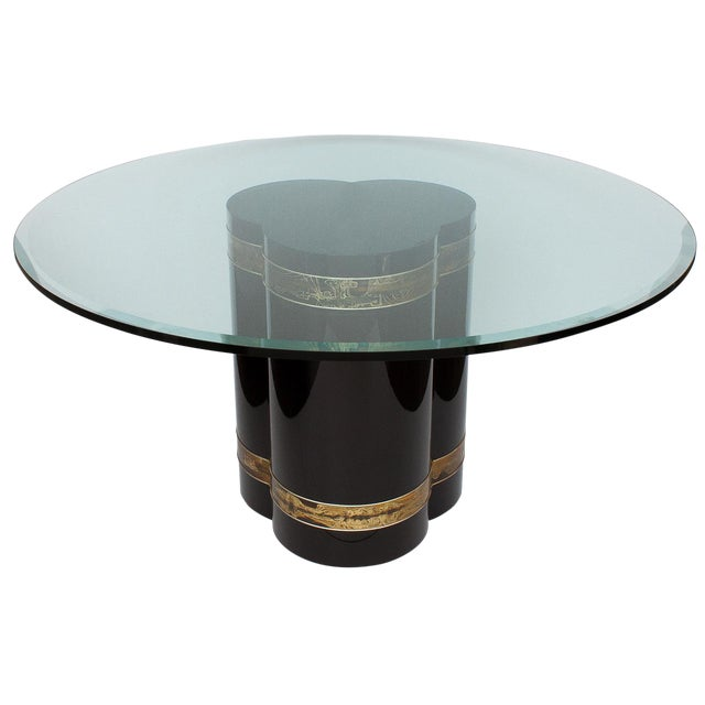Bernhard Rohne Black Lacquer Brass Pedestal Dining Table - Image 1 of 9