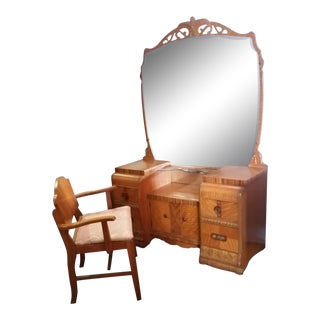Art Deco Vanity Set Stool Mirror