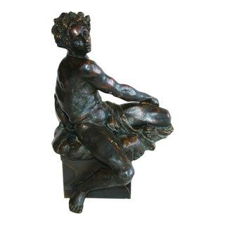 1940s French Bronze Male Figure Statue
