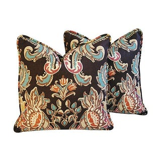 Designer Kravet Lutron Espresso Pillows - a Pair