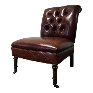 Hancock & Moore Leather Tufted Slipper Chair