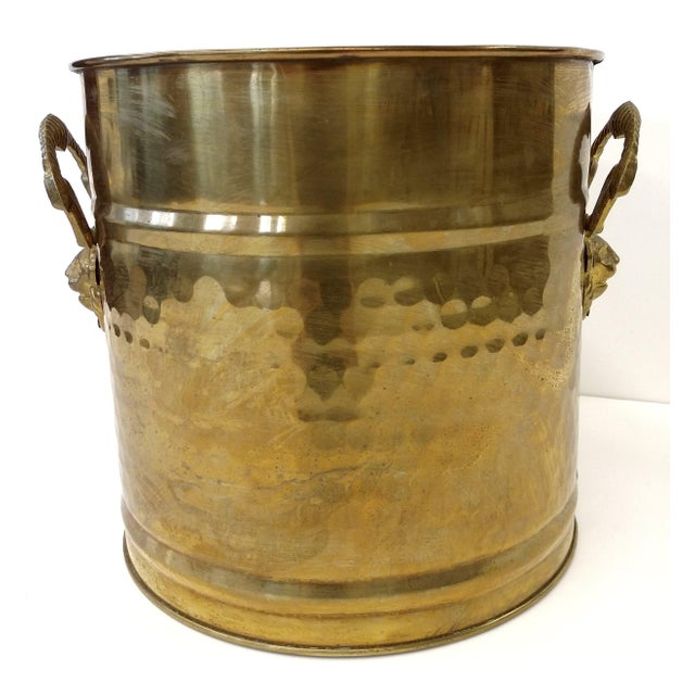Brass Lion Head Handle Planter - Image 2 of 9